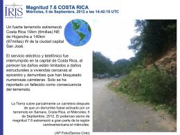 Magnitud 7.6 COSTA RICA Miércoles, 5 de