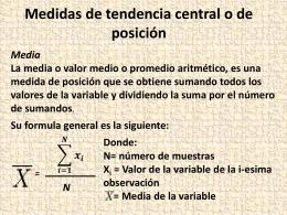 Medidas de tendencia central o de posición