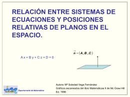 relación entre sistemas de ecuaciones y posiciones