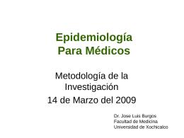 Epidemiología clínica - Curso de Metodologia de la Investigacion