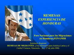 REMESAS EXPERIENCIA DE HONDURAS