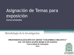 ASIGNACIÓN DE TEMAS PARA EXPOSICIONES