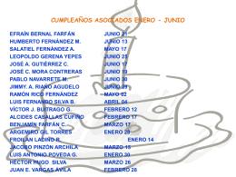 CUMPLEAÑOS ASOCIADOS ENERO - JUNIO
