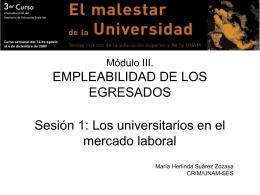 Módulo III. EMPLEABILIDAD DE LOS EGRESADOS Sesión 1: Los