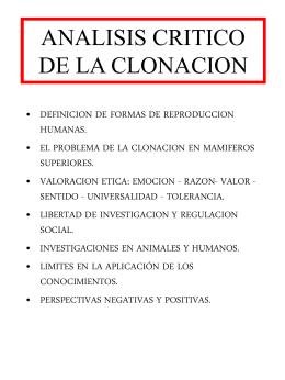 ANALISIS CRITICO DE LA CLONACION