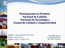 Participación en Premios (PNC, PNT y Estatal de Calidad y