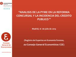 Comentario - Consejo General de Colegios de Economistas