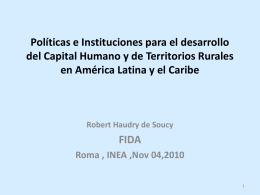 Políticas e Instituciones para el desarrollo del Capital Humano y de