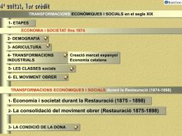 TRANSFORMACIONS ECONÒMIQUES I SOCIALS fins 1874