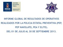 Estadísticas de la Dirección de la Policía Estatal Preventiva de julio