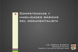 Competencias y habilidades básicas del documentalista