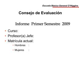 Consejo de Evaluación - Escuela Básica General O`Higgins