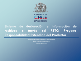 Sistema de declaración e información de residuos a través del RETC