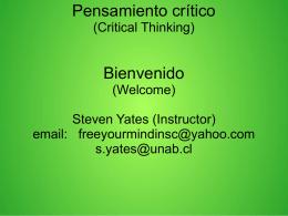 Pensamiento crítico (Critical Thinking) Bienvenido