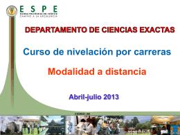 Jornadas académicas Departamento Ciencias Exactas Abril 2013