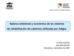 2. Balance ambiental y económico de los sistemas de rehabilitación