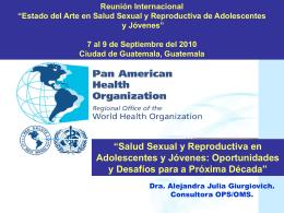 """Reunión Internacional """"Estado del Arte en Salud Sexual y"""