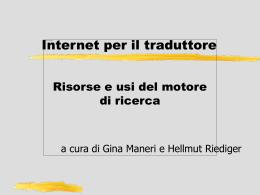 Internet per il traduttore: risorse e usi del motore di