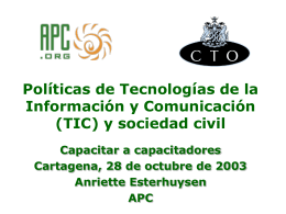 ICT Policy for Civil Society Train of Trainers