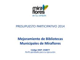 Mejoramiento y Acondicionamiento de las Bibliotecas Municipales