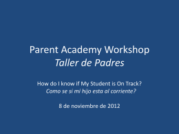 Parent Academy Workshop Taller de Padres