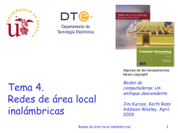Tema 4. Redes de Área Local inalámbricas (6/5/15)