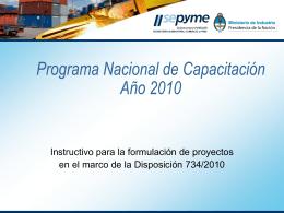 Material (I): Instructivo Programa Nacional de Capacitación 2010.