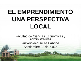 emprendimiento: una perspectiva local