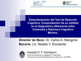 Estandarización del Test de Reacción Cognitiva. Comprobación de