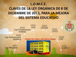 LOMCE CLAVES DE LA LEY ORGÁNICA DE 8 DE DICIEMBRE DE