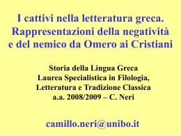 slides del corso - Dipartimento di Filologia Classica e Italianistica