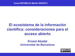 El ecosistema de la información científica: consideraciones para el