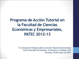 Programa de acción tutorial en la facultad de ciencias económicas y