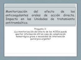 Monitorización del efecto de los anticoagulantes orales de acción