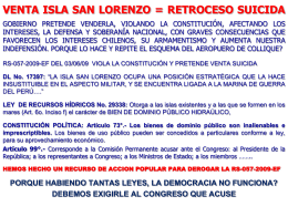 venta isla san lorenzo = retroceso suicida