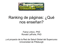 Page Rankings: What do they teach us? In Spanish