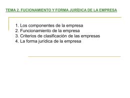 Tema 2. Funcionamiento y forma jurídica de la empresa
