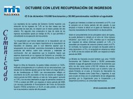 Octubre con leve recuperación de ingresos-20 NOV
