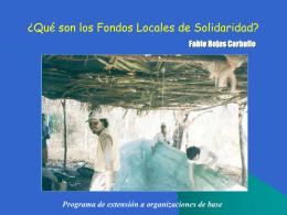 ¿Qué son los fondos locales de solidaridad?
