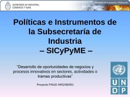 Políticas e Instrumentos de la SICyPyME