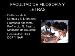 Diapositiva 1 - Facultad de Filosofía y Letras