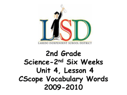 2nd Grade Science-2nd Six Weeks Unit 4, Lesson 4