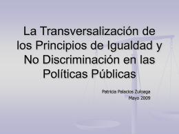 La Transversalización de los Principios de Igualdad