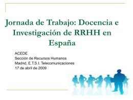 Jornada de Trabajo: Docencia e Investigación de RRHH en España