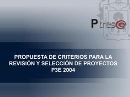 propuesta de criterios para la revisión y selección de proyectos