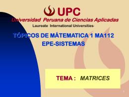 Matrices - Universidad Peruana de Ciencias Aplicadas