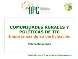 COMUNIDADES RURALES Y POLÍTICAS DE TIC