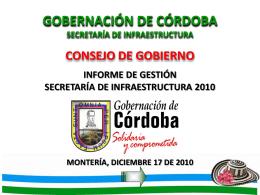 Informe de Gestión Secretaría Infraestructura