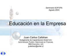 """""""Caso prático e-learning"""" (Sr. Juan Carlos Callahan, ENTEL)"""