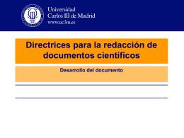 Directrices para la redacción de documentos científicos Desarrollo